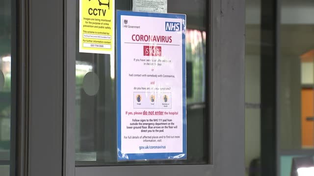 cases increase by 67 in 24 hours; england: ext gv entrance and sign 'emergency department' and coronavirus information posters visible on windows... - information sign stock videos & royalty-free footage