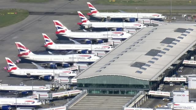 uk government insists threat posed to uk remains low england london heathrow airport british airways planes grounded at heathrow air views british... - aeroplane stock videos & royalty-free footage