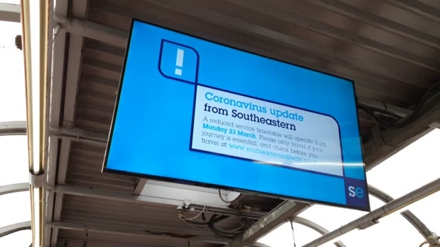 a coronavirus update services sign at waterloo east station during the coronavirus pandemic on march 20 2020 in london england - brian dayle coronavirus stock videos & royalty-free footage