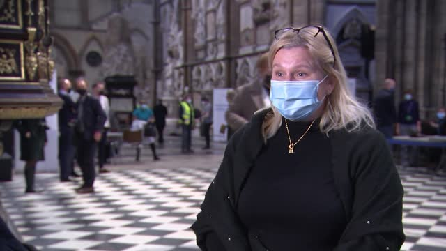 vaccination centre set up in westminster abbey; uk, london; westminster abbey, church, covid-19 coronavirus, vaccine, vaccination centre, medic,... - news not politics video stock e b–roll