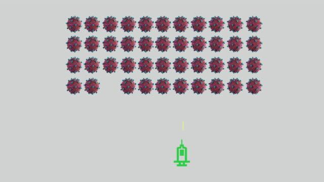 coronavirus vaccine conceptual symbol. arcade video game concept - conceptual symbol stock videos & royalty-free footage