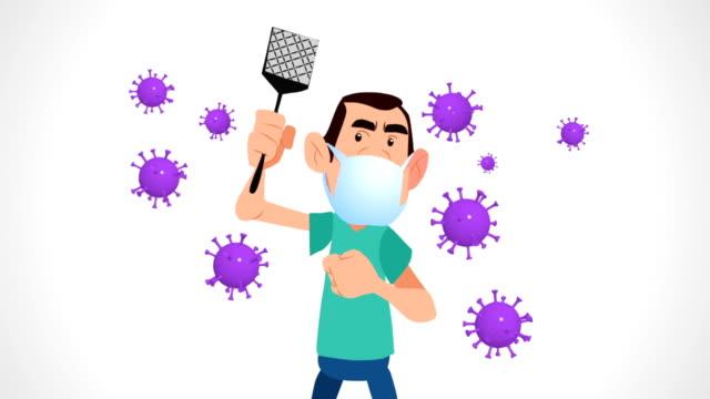 stockvideo's en b-roll-footage met coronavirus - vliegenmepper