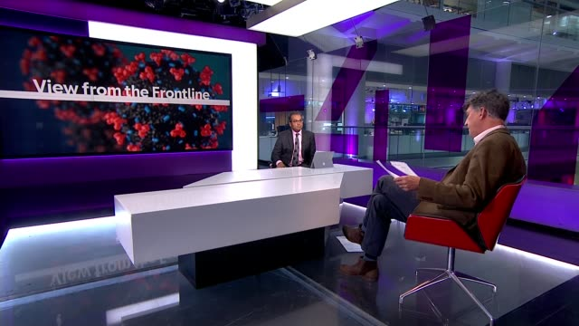 vidéos et rushes de view from the frontline: hospital cleaners and supermarket staff speak out about lack of protection; england: london: gir: int reporter in studio sot - channel 4 news