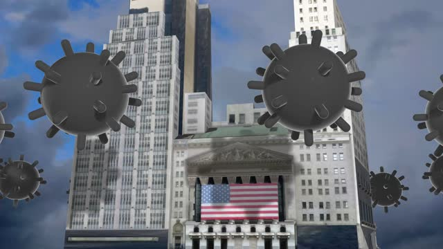 coronavirus viruses causing a major financial crisis are circulating above the new york stock exchange building nyse- financial crash - global recession - , stock market and exchange, crisis, despair, global business - 1920 1929 stock videos & royalty-free footage