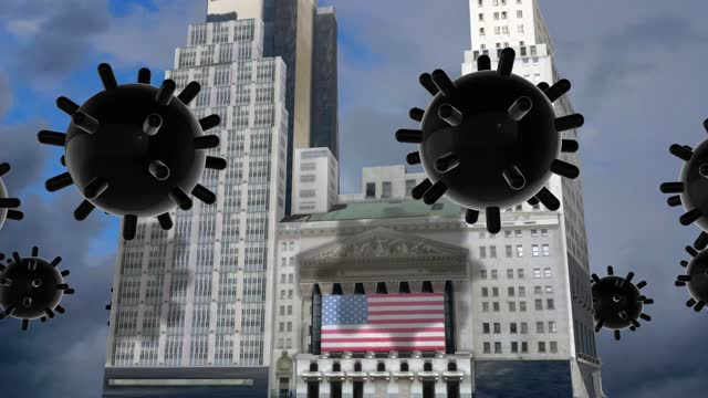 coronavirus viruses causing a major financial crisis are circulating above the new york stock exchange building nyse- financial crash - global recession - , stock market and exchange, crisis, despair, global business - wall street crash of 1929 stock videos & royalty-free footage
