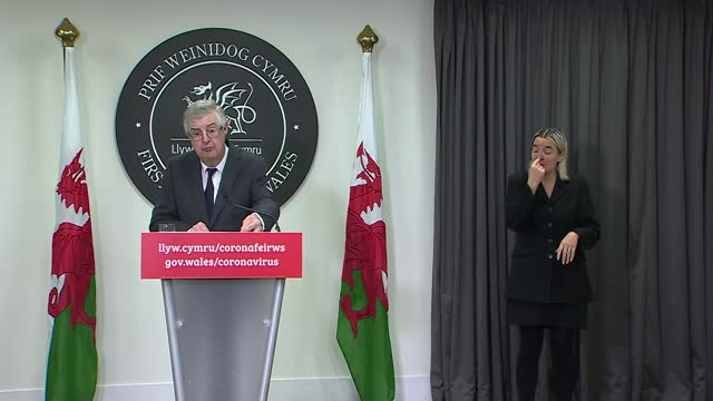 welsh government announces tighter restrictions on hospitality venues; wales: cardiff: int mark drakeford press conference sot. - politics点の映像素材/bロール