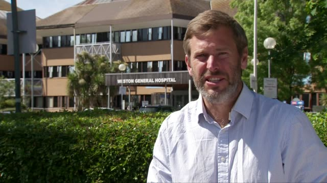 stockvideo's en b-roll-footage met weston general not accepting new admissions after surge in coronavirus patients england somerset westonsupermare weston general hospital ext... - new not politics