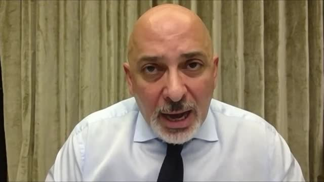 advises against delaying second dose of covid-19 vaccines; england: int nadhim zahawi mp interview via internet sot - dose stock videos & royalty-free footage