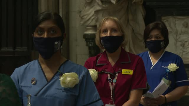 work of nurses celebrated on florence nightingale's birthday; england: london: westminster abbey: int ornament in chapel tilt down choir singing sot... - film composite stock videos & royalty-free footage