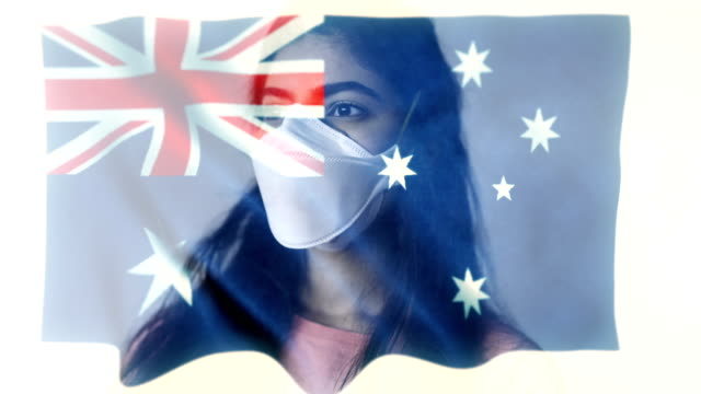 coronovirus 2019-ncov background concept. patience wearing protective mask with australian flag overlay. - alertness stock videos & royalty-free footage