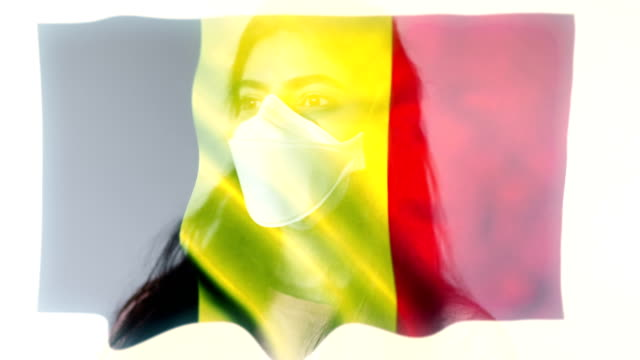 coronovirus 2019-ncov background concept. patience wearing protective mask with belgium flag overlay. - belgium stock videos & royalty-free footage
