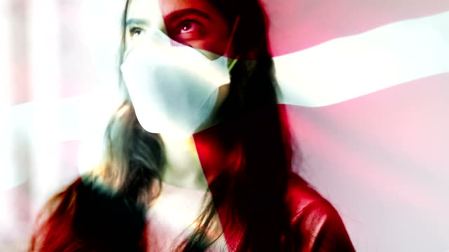 coronovirus 2019-ncov background concept. patience wearing protective mask with danish flag overlay. - sudden acute respiratory syndrome stock videos & royalty-free footage
