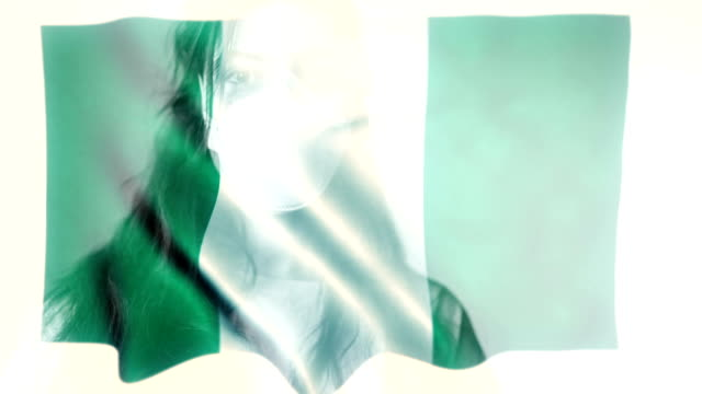 coronovirus 2019-ncov background concept. patience wearing protective mask with nigerian flag overlay. - nigerian flag stock videos & royalty-free footage