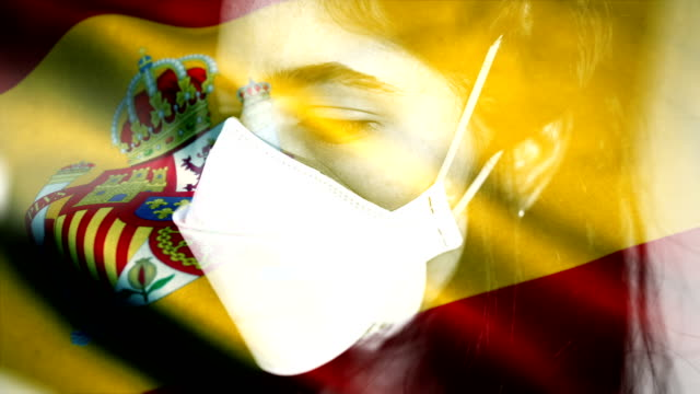 coronovirus 2019-ncov background concept. patience wearing protective mask with spanish flag overlay. - spain stock videos & royalty-free footage