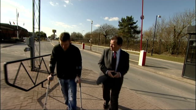 corporal ross austen continues recovery t10031005 ext austen using crutches along with reporter - crutch stock videos & royalty-free footage