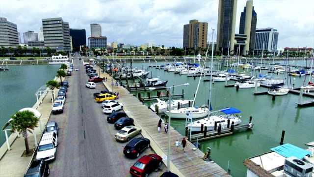 Corpus Christi Texas Low Aerial Over T-Head Marina Bayfront the Downtown Skyline Cityscape