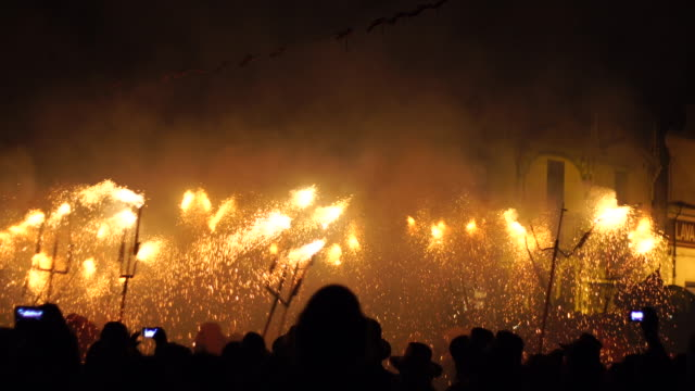 correfoc - spain traditional party in mediterranean area - spain stock videos & royalty-free footage