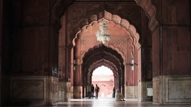 LS Corridor and archways in the Jama Masjid, a Muslim mosque / Delhi, Punjab, India