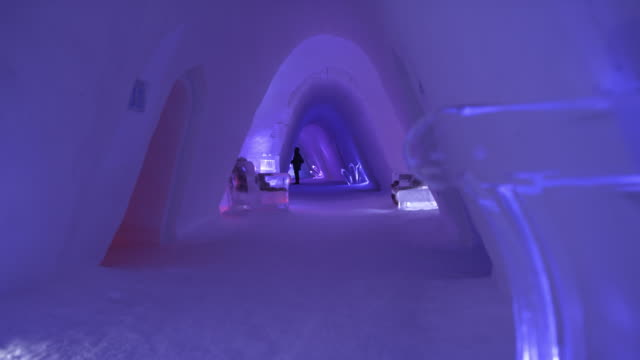ds corridor at ice hotel in norway - cold temperature stock videos & royalty-free footage