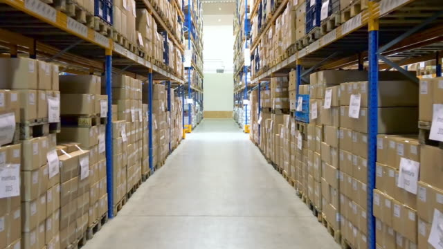corridor in distributional industrial centre - shelf stock videos and b-roll footage