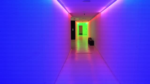 corridor is lit with fluorescent tubes at the he chateau d'auvers-sur-oise which offers visitors a permanent collection to understand the history of... - bright colour stock videos & royalty-free footage