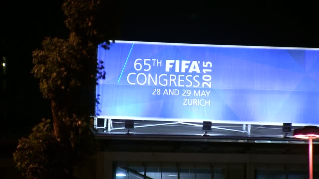 corruption scandal: fifa congress general views; switzerland: zurich: ext at night general views of the hallenstadion, where the fifa congress was... - fifa stock videos & royalty-free footage