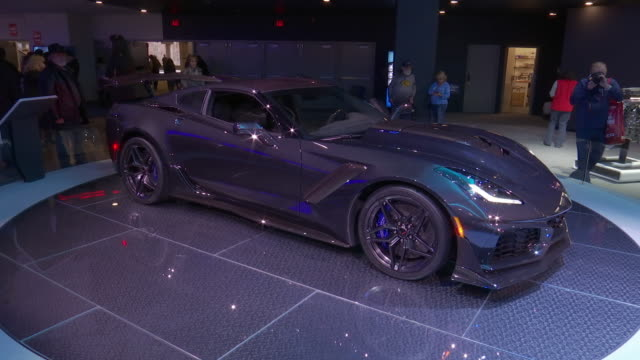 ws corvette revolving on turntable / cu front end / zo ms front wheel / cu headlight / cu zr1 emblem zo ws hood with carbon fiber air intake / ms ha... - fibreglass stock videos and b-roll footage