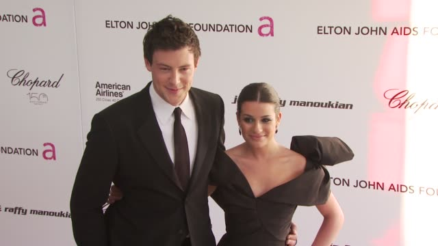 cory monteith and lea michele at the 18th annual elton john aids foundation oscar party at west hollywood ca - cory monteith stock videos and b-roll footage