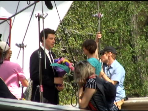 cory monteith and lea michele shoot a scene for the season finale of 'glee' in central park in new york 04/26/11 - cory monteith stock videos and b-roll footage