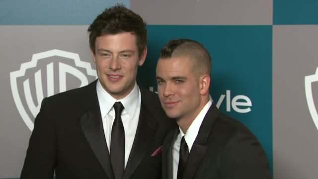 cory monteith and mark salling at the 13th annual warner bros and instyle golden globe afterparty at the beverly hilton hotel on 1/15/12 in los... - cory monteith stock videos and b-roll footage