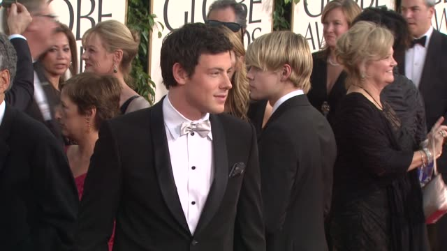 cory monteith at the 68th annual golden globe awards arrivals part 2 at beverly hills ca - cory monteith stock videos and b-roll footage