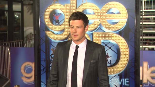 cory monteith at the 'glee the 3d concert movie' los angeles premiere at westwood ca - cory monteith stock videos and b-roll footage