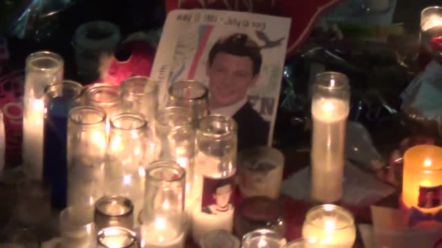 cory monteith fan memorial outside paramount studios in hollywood at celebrity sightings in los angeles cory monteith fan memorial outside paramount... - cory monteith stock videos and b-roll footage