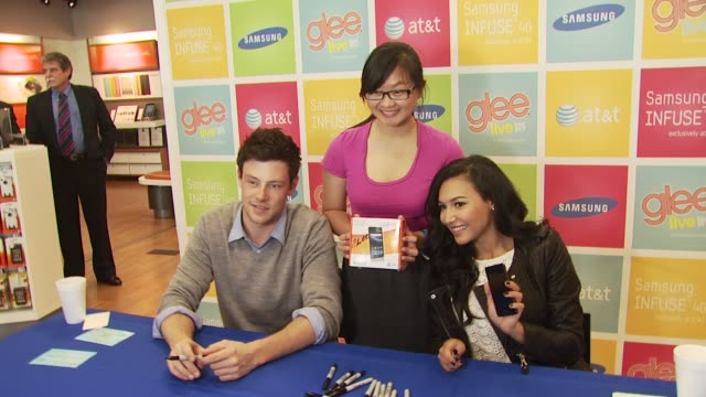 cory monteith naya rivera at the glee live samsung infuse 4g dtr event stevens creek att store at san jose ca - cory monteith stock videos and b-roll footage