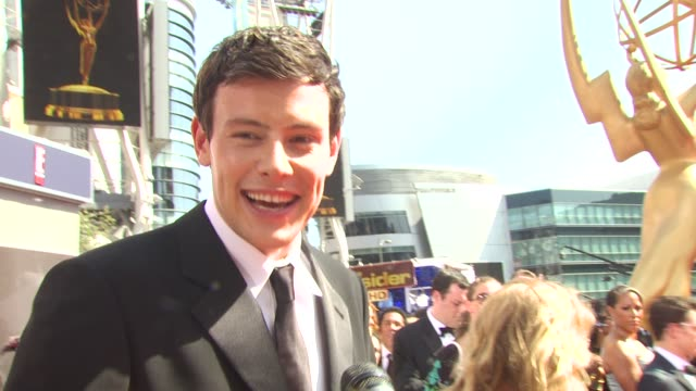 cory monteith on the show being nominated what parties he's hitting at the 62nd primetime emmy awards arrivals part 3 at los angeles ca - cory monteith stock videos and b-roll footage