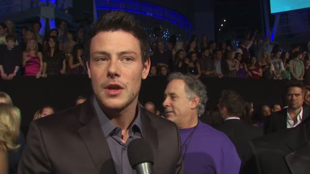 cory monteith on walking the carpet at the people's choice awards and on being nominated for glee at the 36th annual people's choice awards at los... - cory monteith stock videos and b-roll footage