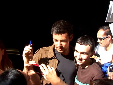 cory monteith signs autographs for fans as he departs 'live with regis kelly' in new york 08/02/11 - cory monteith stock videos and b-roll footage