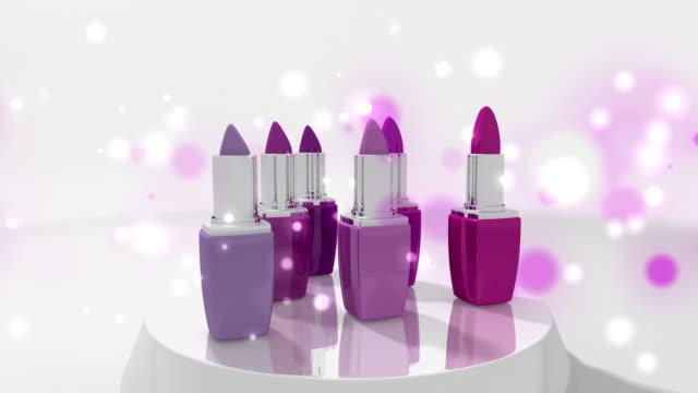 kleine make-up farben lippenstifte endlos wiederholbar - einige gegenstände mittelgroße ansammlung stock-videos und b-roll-filmmaterial