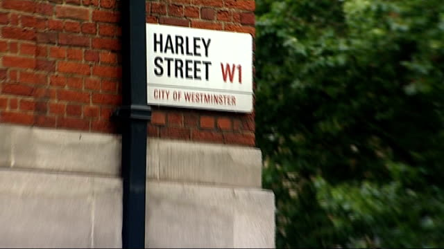 Cosmetic surgery review launched after PIP breast implant scandal ENGLAND London EXT Close shot street sign 'Harley Street' / Reporter to camera