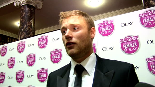 cosmopolitan ultimate woman of the year awards 2009 arrivals and interviews flintoff interview sot on his ultimate man of the year award / on... - embarrassment stock videos & royalty-free footage