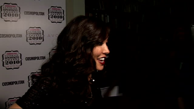 'Cosmopolitan Ultimate Women of the Year Awards 2010' press room interviews Myleene Klass interviewed by other crew SOT On presenting an award for...