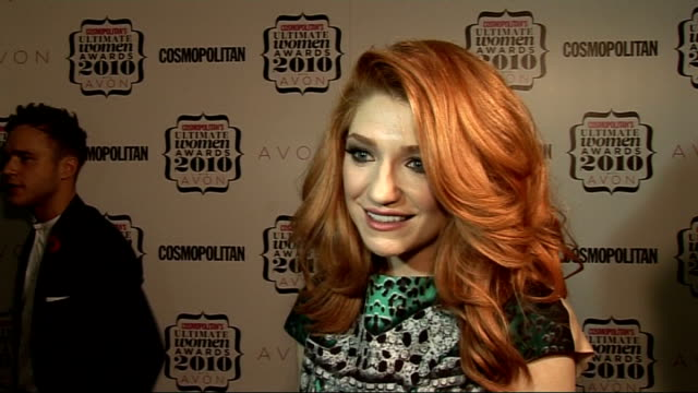 'Cosmopolitan Ultimate Women of the Year Awards 2010' press room interviews Jameela Jamil speaking to press SOT Nicola Roberts interview SOT On...