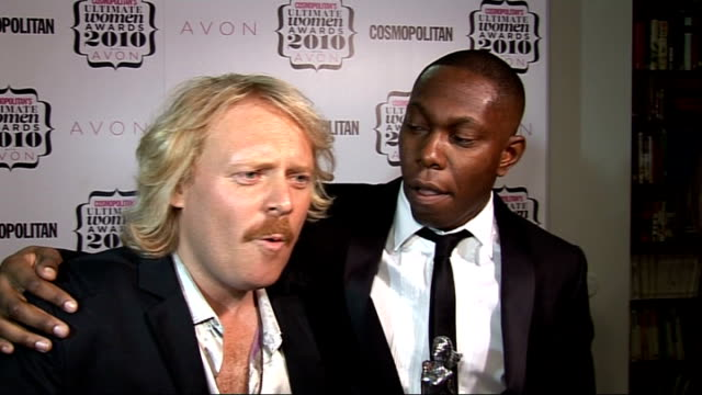 'cosmopolitan ultimate women of the year awards 2010' press room interviews dizzee rascal speaking to press sot on picking up award for ultimate man... - kelly brook stock-videos und b-roll-filmmaterial