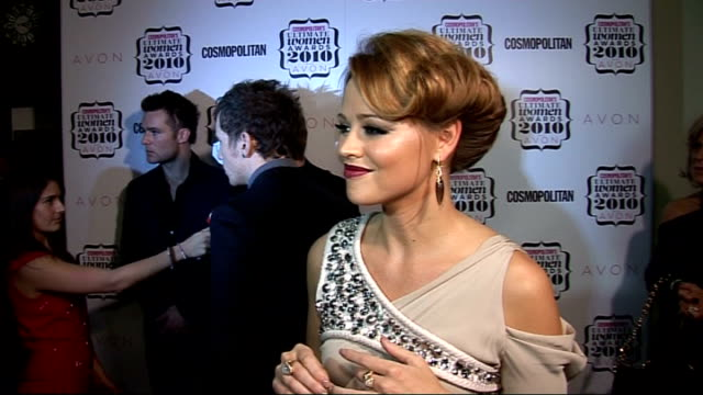 'Cosmopolitan Ultimate Women of the Year Awards 2010' press room interviews Kimberley Walsh interview SOT Amazing to be on the judging panel not a...