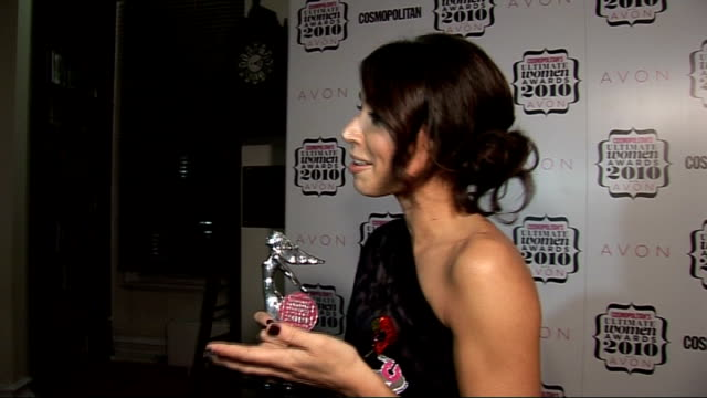 'cosmopolitan ultimate women of the year awards 2010': press room interviews; christine bleakley interview with other crew sot - on winning the... - christine bleakley stock videos & royalty-free footage
