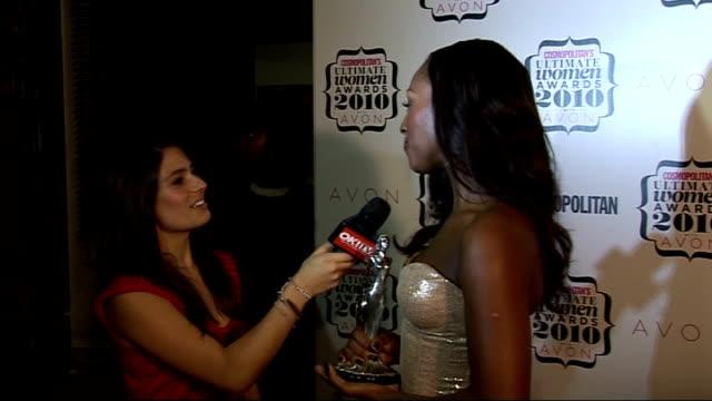 'Cosmopolitan Ultimate Women of the Year Awards 2010' press room interviews General views Alexandra Burke speaking to press holding award SOT...