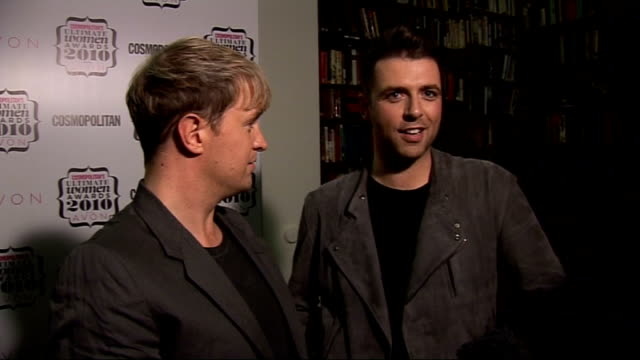 'cosmopolitan ultimate women of the year awards 2010': press room interviews; england: london: westminster: banqueting house: int kian egan and mark... - christine bleakley stock videos & royalty-free footage