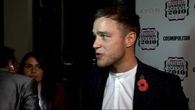 'cosmopolitan ultimate women of the year awards 2010' press room interviews general view olly murs speaking to press and interview sot on who he... - girlfriend stock videos & royalty-free footage
