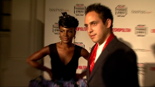 Cosmopolitan Ultimate Women of the Year Awards 2011 celebrity interviews Shingai Shoniwa and Dan Smith speaking to press PAN to show Shoniwa's outfit...