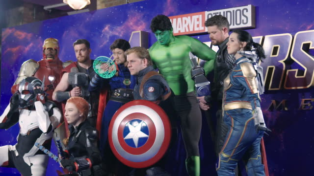 Cosplay fans at 'Avengers Endgame' UK Fan Event on April 10 2019 in London United Kingdom